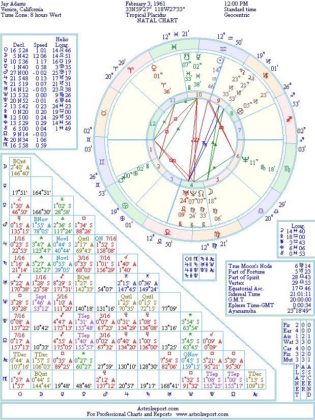 Jay Adams Natal Birth Chart From The Astrolreport A List Celebrity