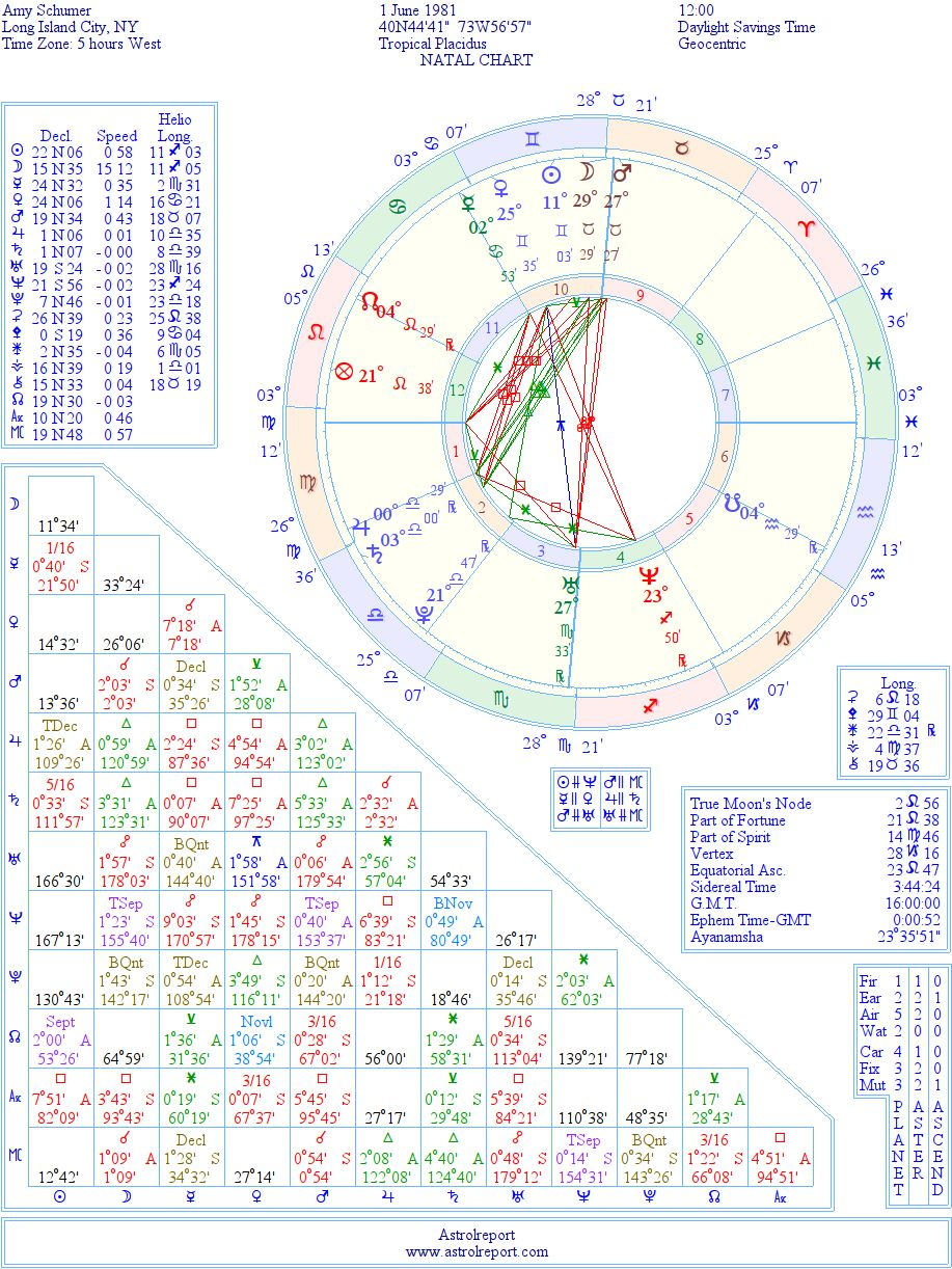 Amy Schumer Natal Birth Chart From The Astrolreport A List